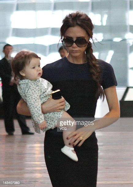 Victoria Beckham and daughter Harper Beckham sighting on April 24 2012 in Beijing China