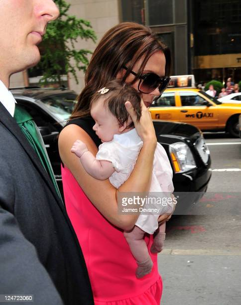 Victoria Beckham and daughter Harper Seven Beckham arrive to Prada 5th Ave on September 11 2011 in New York City