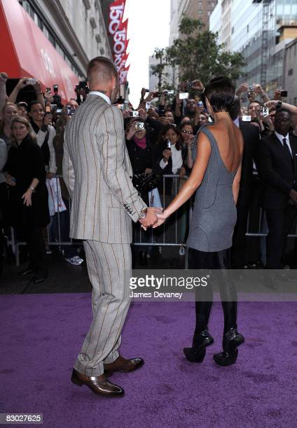 Victoria Beckham and David Beckham arrive at the Beckham Signature fragrance launch at Macy's Herald Square on September 26 2008 in New York City