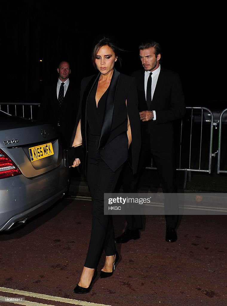 Victoria Beckham and David Beckham attend an evening to celebrate The Global Fund hosted by the Earl and Countess of Mornington, Anna Wintour, Livia Firth and Natalie Massenet at Apsley House on September 16, 2013 in London, England.