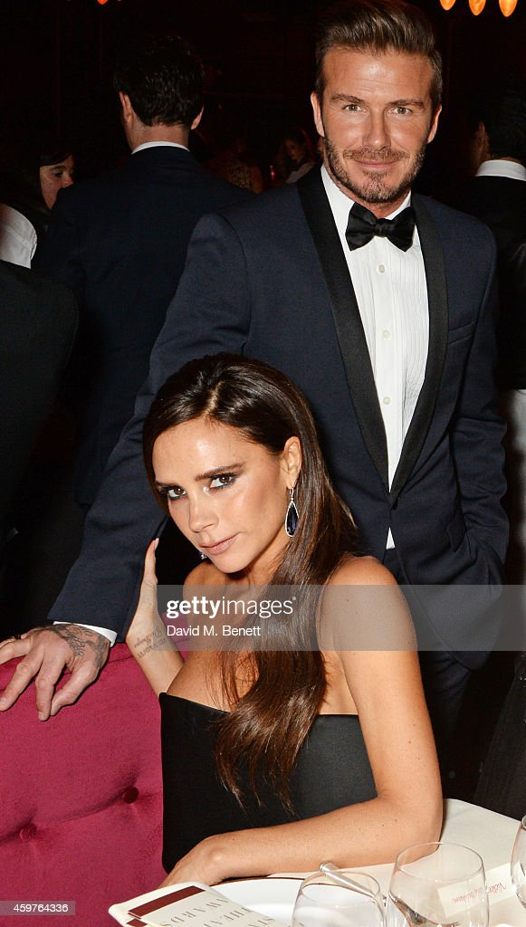 Victoria Beckham and David Beckham attend the 60th London Evening Standard Theatre Awards at the London Palladium on November 30 2014 in London...