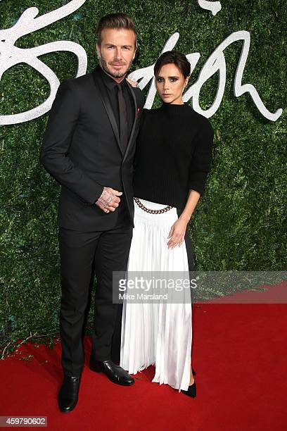 Victoria Beckham and David Beckham attend the British Fashion Awards at London Coliseum on December 1 2014 in London England