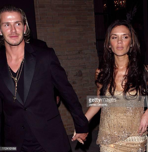 Victoria Beckham and David Beckham during Anna Wintour Hosts Dinner for British Super Couple Victoria and David Beckham at SoHo House in New York...