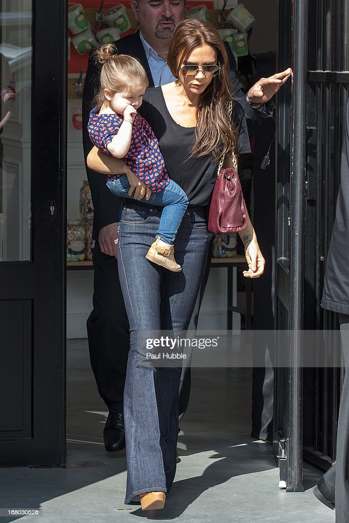 Victoria Beckham and her daughter Harper Seven are seen leaving the 'BONTON' store on May 4, 2013 in Paris, France.