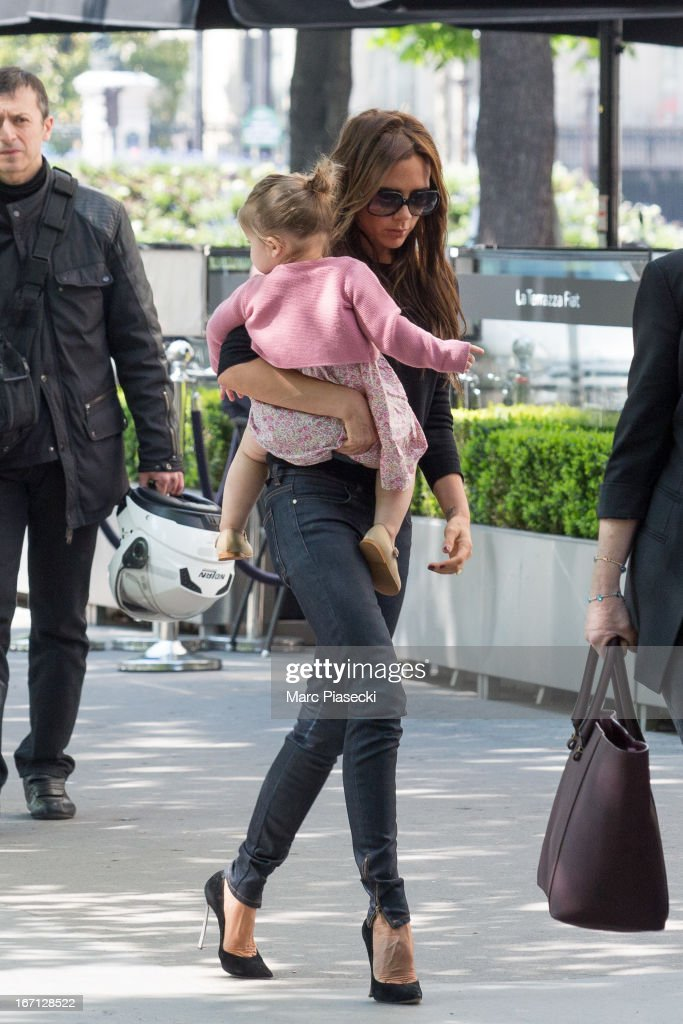 <a gi-track='captionPersonalityLinkClicked' href=/galleries/search?phrase=Victoria+Beckham&family=editorial&specificpeople=161100 ng-click='$event.stopPropagation()'>Victoria Beckham</a> and her daughter Harper Seven Beckham are seen arriving at the 'Matignon' restaurant on April 21, 2013 in Paris, France.