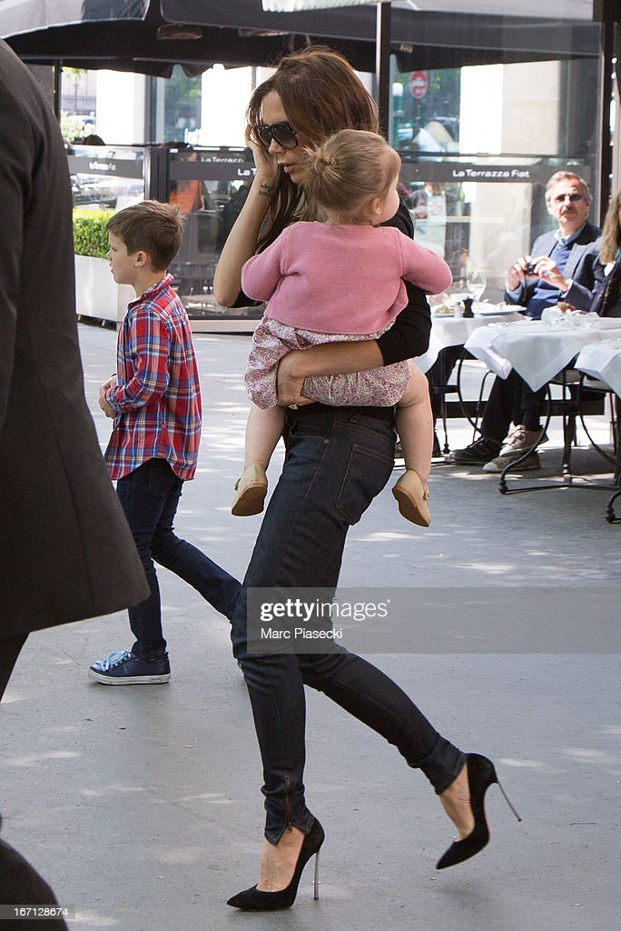 Victoria Beckham and her daughter Harper Seven Beckham are seen leaving the 'Matignon' restaurant on April 21, 2013 in Paris, France.