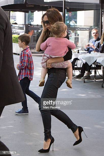Victoria Beckham and her daughter Harper Seven Beckham are seen leaving the 'Matignon' restaurant on April 21 2013 in Paris France