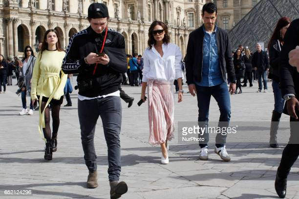 Victoria Beckham and her son Brooklyn visit the Musee du Louvre in Paris on march 11th 2017