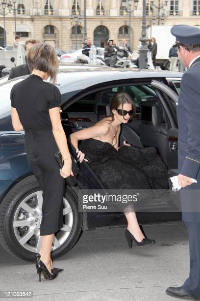 Victoria Beckham and Katie Holmes during Victoria Beckham and Katie Holmes Sighting in Paris October 6 2006 in Paris France