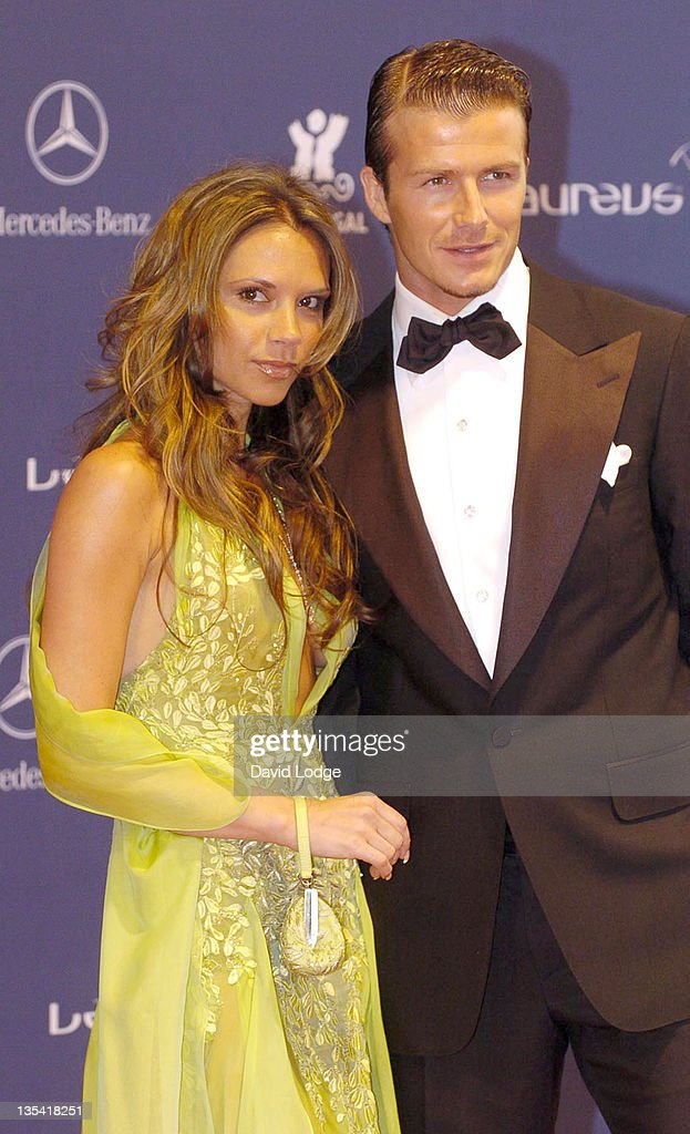Victoria Beckham andDavid Beckham during 2005 Laureus Sports Awards - Arrivals at Casino Estoril in Estoril, Portugal.
