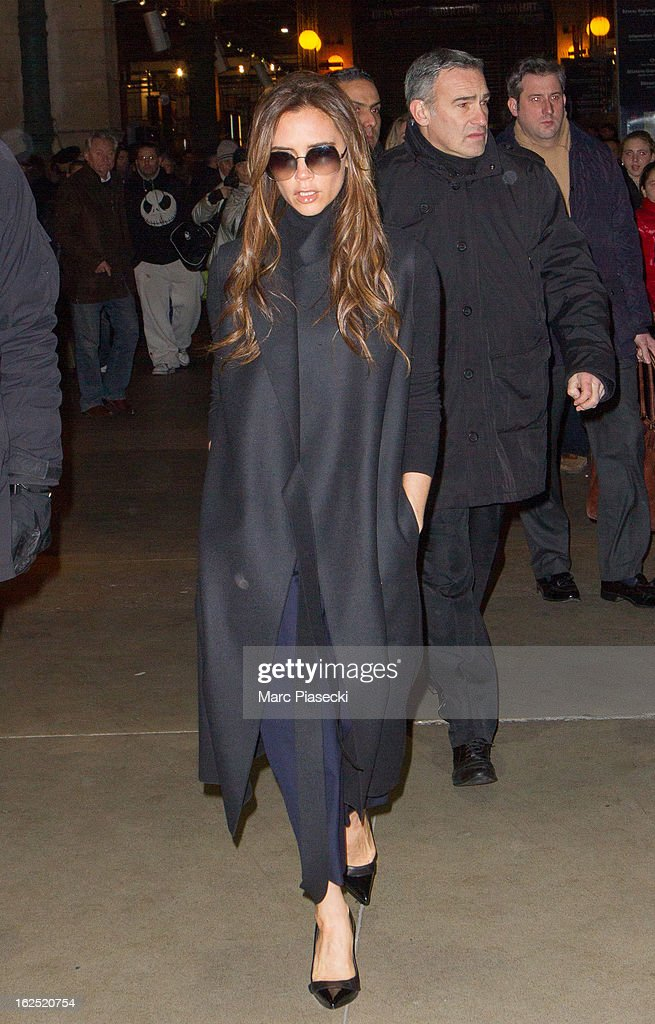 Victoria Beckham arrives at Gare du Nord on February 24, 2013 in Paris, France.
