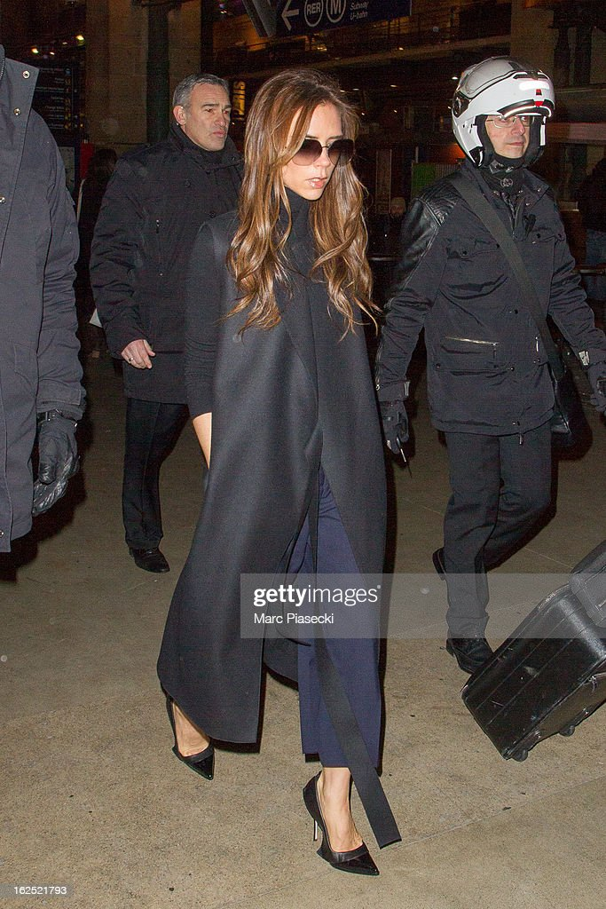 <a gi-track='captionPersonalityLinkClicked' href=/galleries/search?phrase=Victoria+Beckham&family=editorial&specificpeople=161100 ng-click='$event.stopPropagation()'>Victoria Beckham</a> arrives at Gare du Nord on February 24, 2013 in Paris, France.