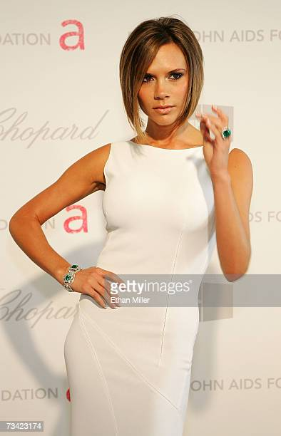 Victoria Beckham arrives at the 15th Annual Elton John AIDS Foundation Academy Awards viewing party held at the Pacific Design Center on February 25...