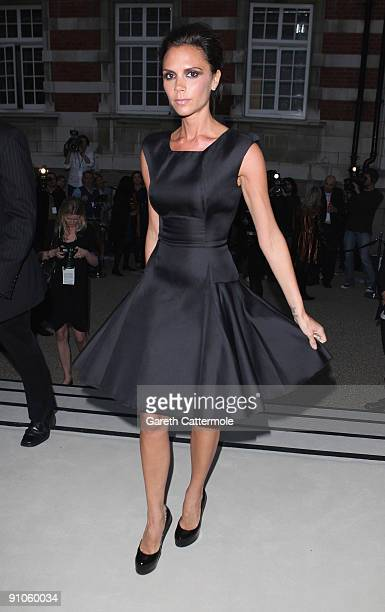 Victoria Beckham arrives at the Burberry Prorsum Spring/Summer 2010 Show at Rootstein Hopkins Parade Ground during London Fashion Week on September...