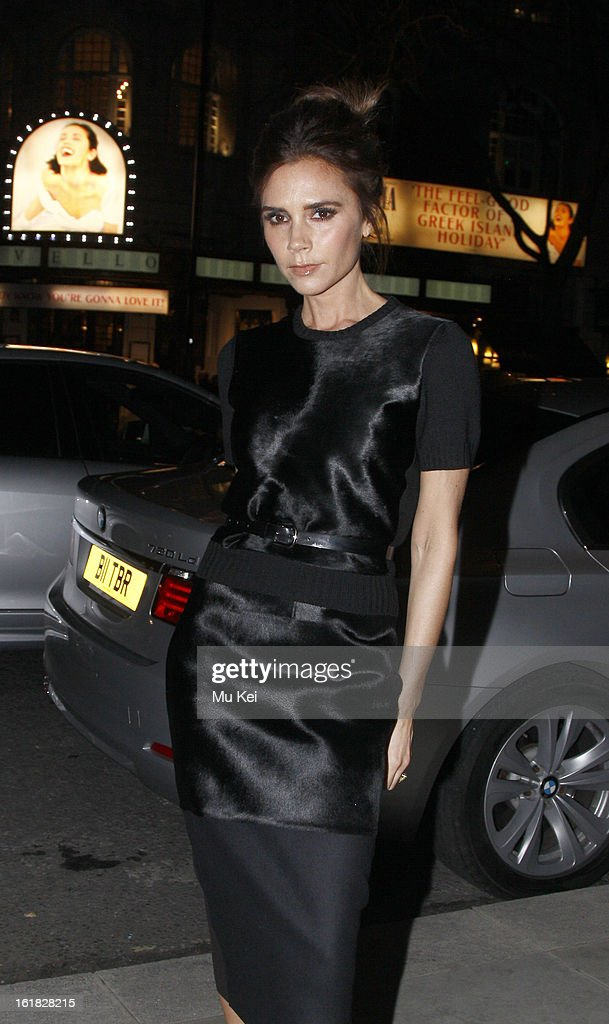 <a gi-track='captionPersonalityLinkClicked' href=/galleries/search?phrase=Victoria+Beckham&family=editorial&specificpeople=161100 ng-click='$event.stopPropagation()'>Victoria Beckham</a> arrives at Woolmark Prize Final at ME Hotel during London Fashion Week on February 16, 2013 in London, England.