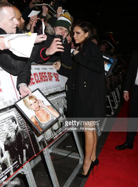Victoria Beckham arriving for the World premiere of documentary film The Class of 92 detailing the rise to prominence and sporting superstardom of...