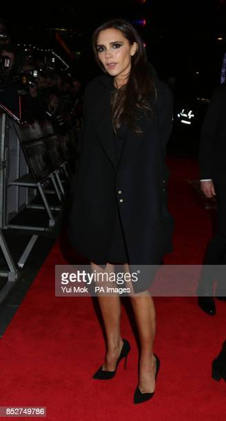 Victoria Beckham arriving for the World premiere of documentrary film The Class of 92 detailing the rise to prominence and sporting superstardom of...