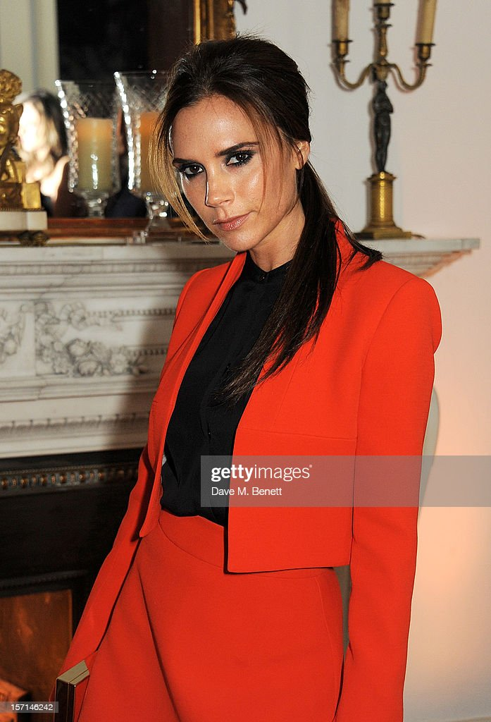 Victoria Beckham attends a dinner celebrating the launch of 'Valentino: Master Of Couture', the new exhibition showing at Somerset House from November 29, 2012 to March 3, 2013, at the Italian Embassy on November 28, 2012 in London, England.