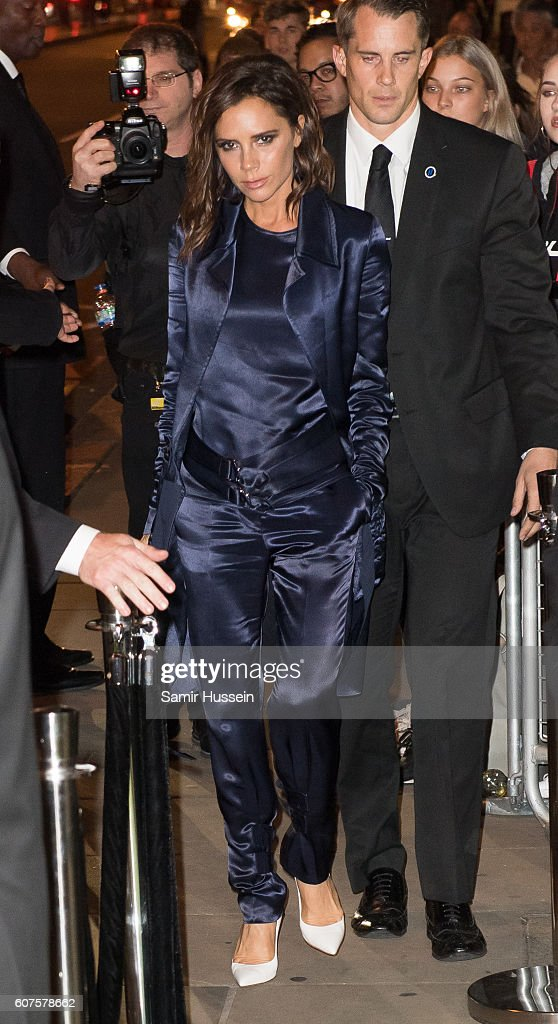 Victoria Beckham attends A Green Carpet Challenge BAFTA Night during London Fashion Week Spring/Summer collections 2017 on September 18, 2016 in London, United Kingdom.