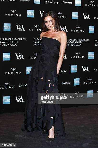 Victoria Beckham attends a private view for the 'Alexander McQueen Savage Beauty' exhibition at Victoria Albert Museum on March 12 2015 in London...