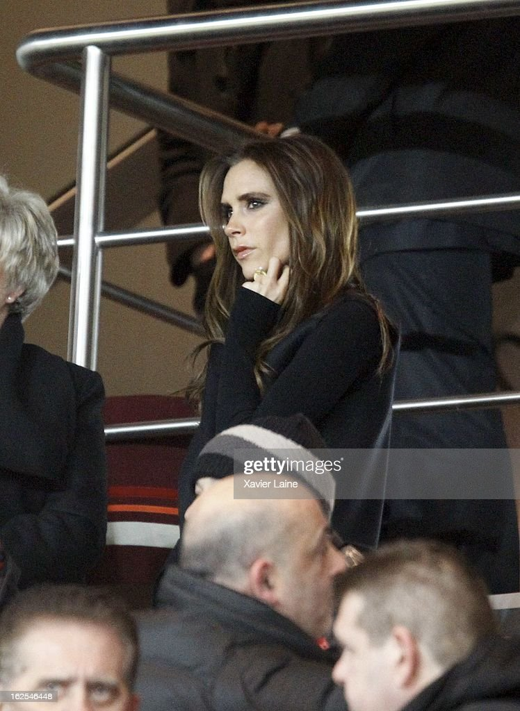 <a gi-track='captionPersonalityLinkClicked' href=/galleries/search?phrase=Victoria+Beckham&family=editorial&specificpeople=161100 ng-click='$event.stopPropagation()'>Victoria Beckham</a> attends before the French League 1 between Paris Saint-Germain FC and Marseille Olympic OM, at Parc des Princes on February 24, 2013 in Paris, France.