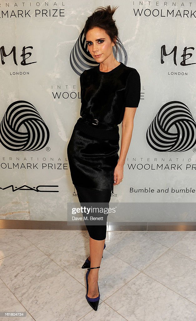 <a gi-track='captionPersonalityLinkClicked' href=/galleries/search?phrase=Victoria+Beckham&family=editorial&specificpeople=161100 ng-click='$event.stopPropagation()'>Victoria Beckham</a> attends the 2013 International Woolmark Prize Final at ME London on February 16, 2013 in London, England.