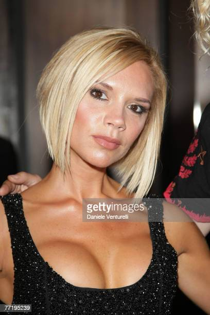 Victoria Beckham attends the cocktail party to celebrate the opening of the Roberto Cavalli flagship store avenue Montaigne on October 4 2007 in...