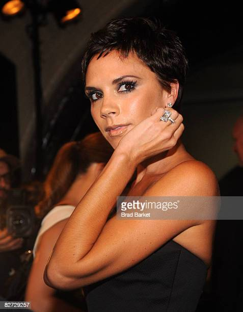 Victoria Beckham attends the Marc Jacobs Spring 2009 fashion show during MercedesBenz Fashion Week at the NY State Armory on September 8 2008 in New...