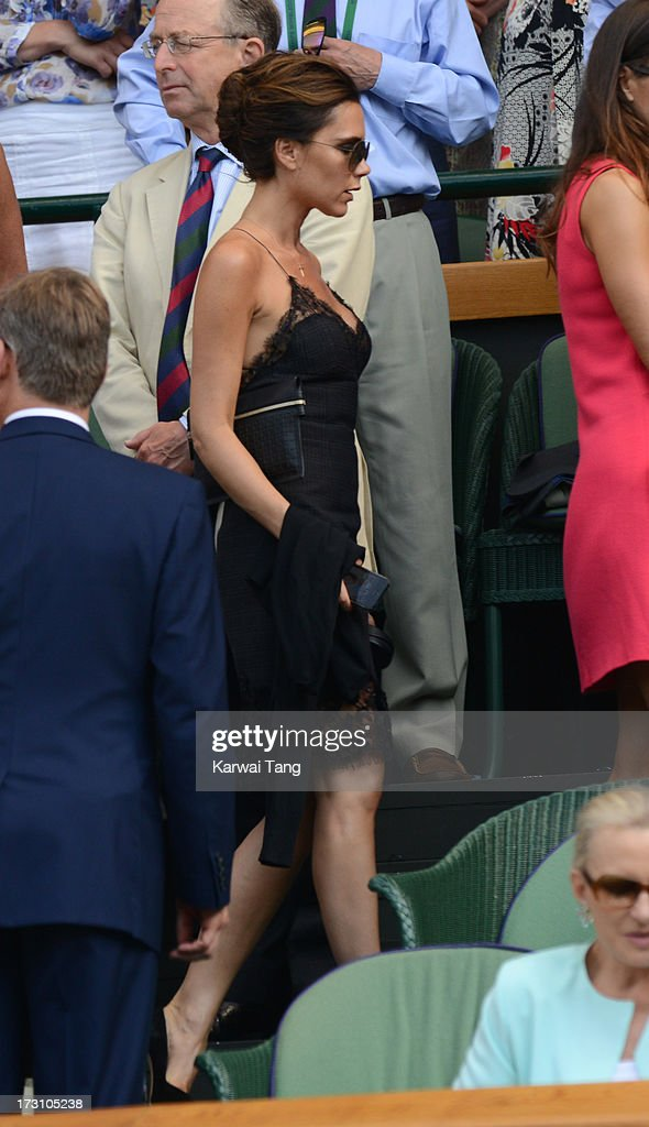 Victoria Beckham attends the Men's Singles Final between Novak Djokovic and Andy Murray on Day 13 of the Wimbledon Lawn Tennis Championships at the All England Lawn Tennis and Croquet Club on July 7, 2013 in London, England.