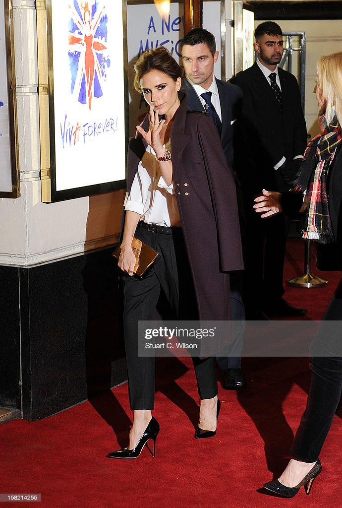 <a gi-track='captionPersonalityLinkClicked' href=/galleries/search?phrase=Victoria+Beckham&family=editorial&specificpeople=161100 ng-click='$event.stopPropagation()'>Victoria Beckham</a> attends the press night of 'Viva Forever', a musical based on the music of The Spice Girls at Piccadilly Theatre on December 11, 2012 in London, England.