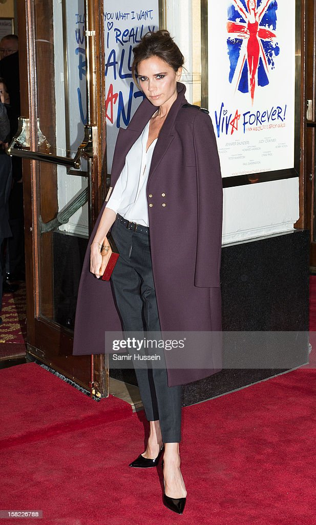 <a gi-track='captionPersonalityLinkClicked' href=/galleries/search?phrase=Victoria+Beckham&family=editorial&specificpeople=161100 ng-click='$event.stopPropagation()'>Victoria Beckham</a> attends the press night of 'Viva Forever', a musical based on the music of The Spice Girls, at Piccadilly Theatre on December 11, 2012 in London, England.