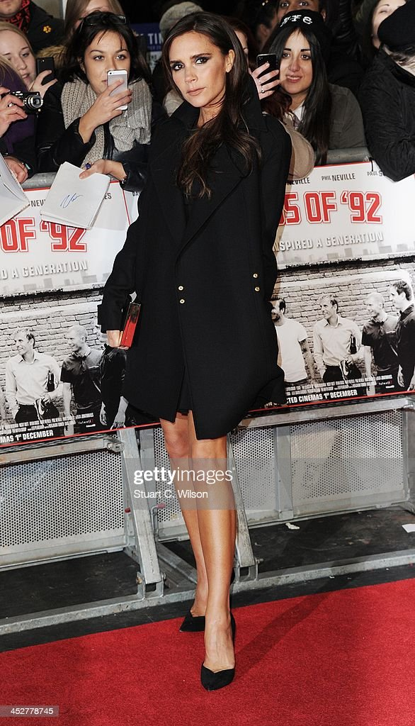 Victoria Beckham attends the world premiere of 'The Class of 92' at Odeon West End on December 1, 2013 in London, England.