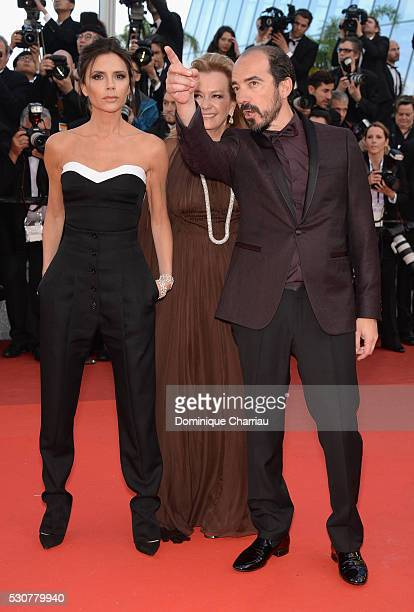 Victoria Beckham Caroline Scheufele and Alexis Veller attend the 'Cafe Society' premiere and the Opening Night Gala during the 69th annual Cannes...