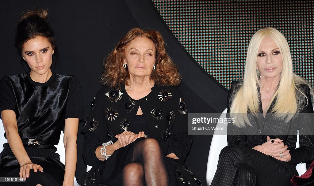 <a gi-track='captionPersonalityLinkClicked' href=/galleries/search?phrase=Victoria+Beckham&family=editorial&specificpeople=161100 ng-click='$event.stopPropagation()'>Victoria Beckham</a>, Diane Von Furstenberg and Donatella Versace attends the International Woolmark prize grand final during London Fashion Week Fall/Winter 2013/14 at ME Hotel on February 16, 2013 in London, England.