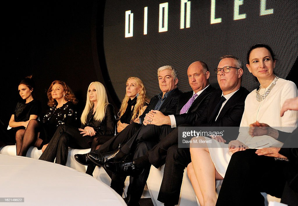 <a gi-track='captionPersonalityLinkClicked' href=/galleries/search?phrase=Victoria+Beckham&family=editorial&specificpeople=161100 ng-click='$event.stopPropagation()'>Victoria Beckham</a>, Diane Von Furstenberg, Donatella Versace, <a gi-track='captionPersonalityLinkClicked' href=/galleries/search?phrase=Franca+Sozzani&family=editorial&specificpeople=639425 ng-click='$event.stopPropagation()'>Franca Sozzani</a>, Tim Blanks, Woolmark CEO Stuart McCullough, Andrew Keith and Paula Reed at the 2013 International Woolmark Prize Final at ME London on February 16, 2013 in London, England.