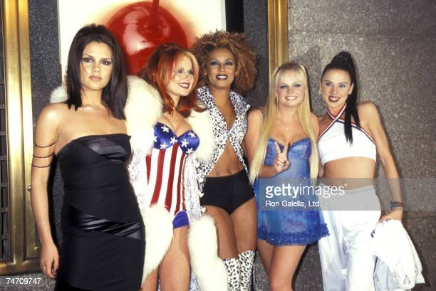 Victoria Beckham Geri Halliwell Melanie Brown Emma Bunton and Melanie Chisholm of the Spice Girls at the Radio City Music Hall in New York City New...