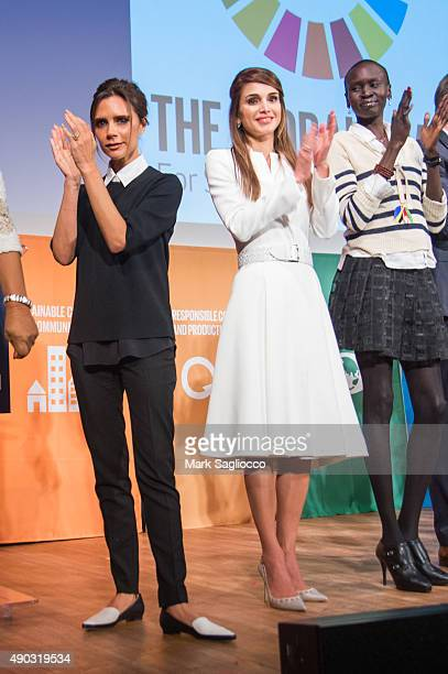 Victoria Beckham Her Majesty Queen Rania Al Abdullah of Jordan and Alek Wek attend the Social Good Summit at the 92nd Street Y on September 27 2015...