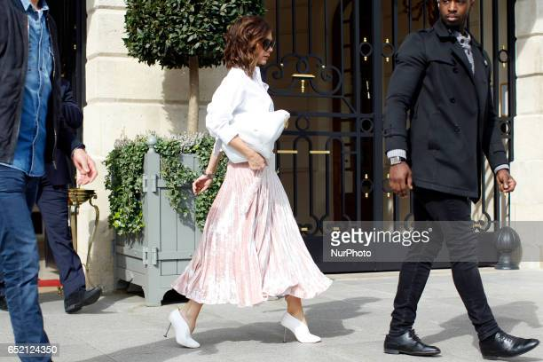 Victoria Beckham her son Brooklyn and Sonia Ben Ammar are seen in Paris on march 11th 2017