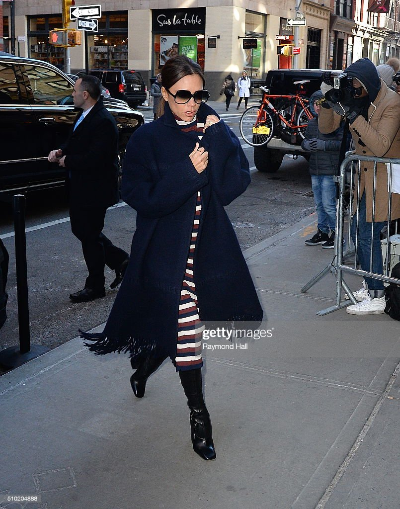 Victoria Beckham is seen arriving at Balthazar Restaurant in Soho on February 14, 2016 in New York City.