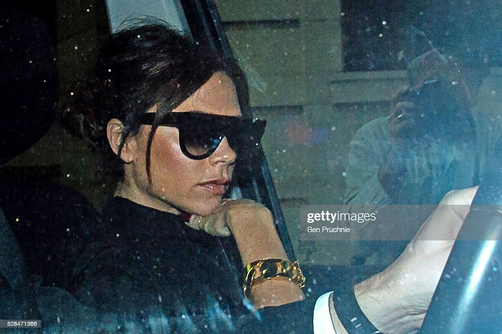 Victoria Beckham is seen arriving at the National Portrait Gallery ahead of the Victoria Beckham in conversation with Claudia Winkleman event which is part of the 100 years of Vogue exhibition on May 5, 2016 in London, England.