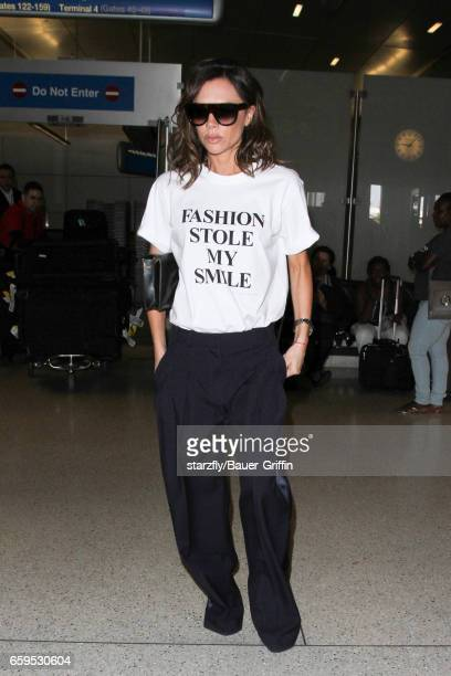 Victoria Beckham is seen at LAX on March 28 2017 in Los Angeles California