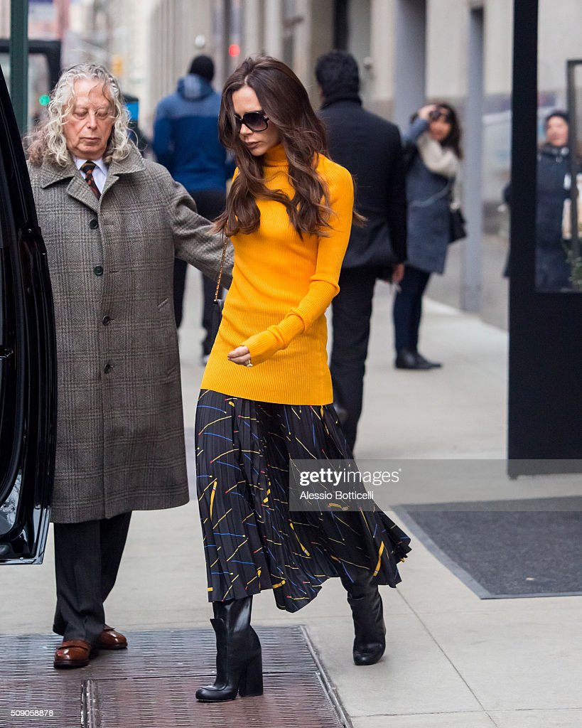 Victoria Beckham is seen leaving her Manhattan hotel on February 8, 2016 in New York City.
