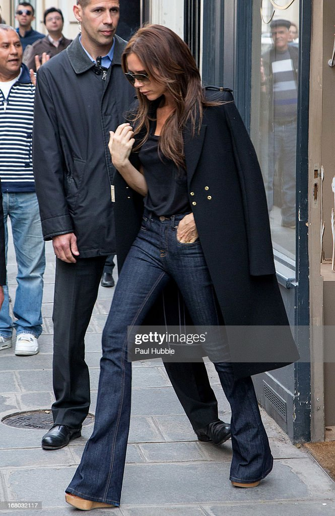 <a gi-track='captionPersonalityLinkClicked' href=/galleries/search?phrase=Victoria+Beckham&family=editorial&specificpeople=161100 ng-click='$event.stopPropagation()'>Victoria Beckham</a> is seen leaving the 'Bonpoint' store on May 4, 2013 in Paris, France.