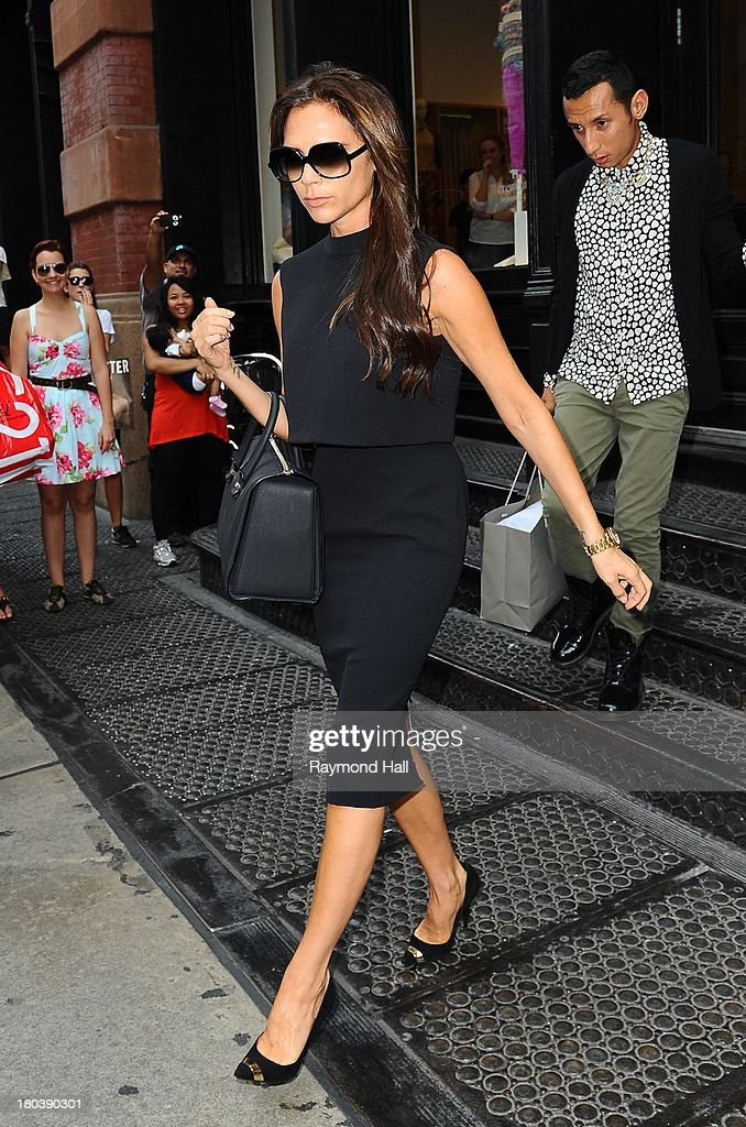 Victoria Beckham is seen outside J.Crew in Soho in NYCon September 12, 2013 in New York City.