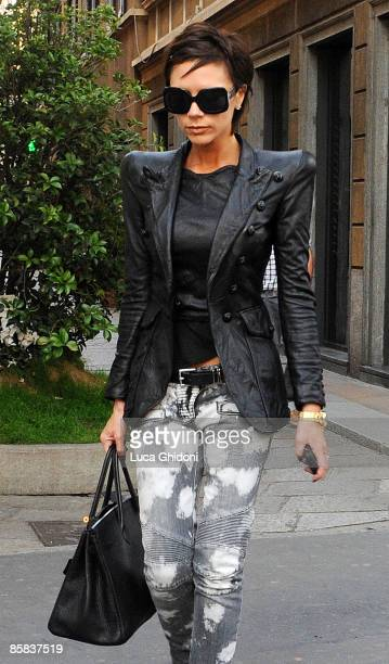 Victoria Beckham is seen shopping on April 7 2009 in Milan Italy