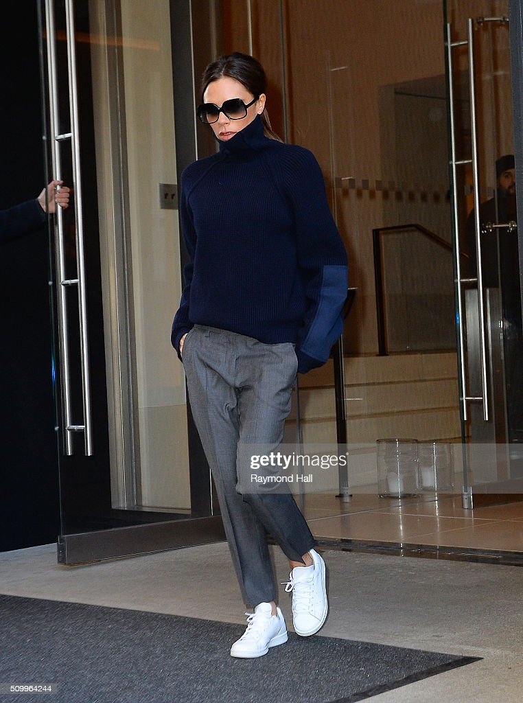 Victoria Beckham is seen walking in soho in a Adidas Stan Smith shoes on February 13, 2016 in New York City.