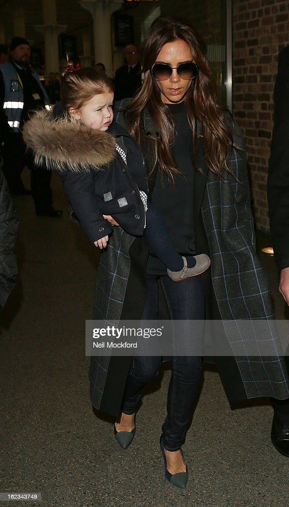 <a gi-track='captionPersonalityLinkClicked' href=/galleries/search?phrase=Victoria+Beckham&family=editorial&specificpeople=161100 ng-click='$event.stopPropagation()'>Victoria Beckham</a> is seen with daughter <a gi-track='captionPersonalityLinkClicked' href=/galleries/search?phrase=Harper+Beckham&family=editorial&specificpeople=8262359 ng-click='$event.stopPropagation()'>Harper Beckham</a> at Eurostar King's Cross St Pancras on February 22, 2013 in London, England.