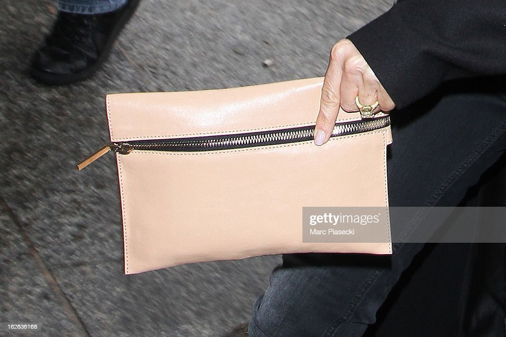 Victoria Beckham (handbag detail) is sighted at 'Gare du Nord' station on February 25, 2013 in Paris, France.