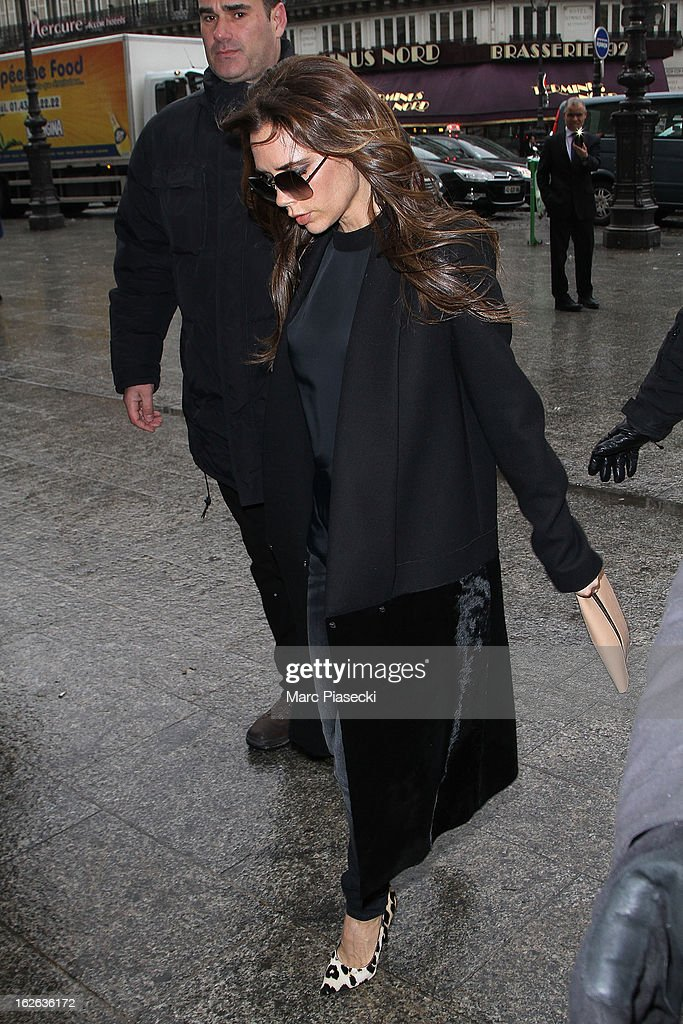 Victoria Beckham is sighted at 'Gare du Nord' station on February 25, 2013 in Paris, France.