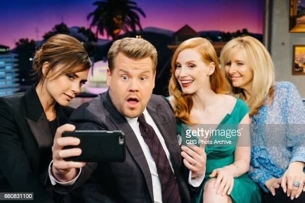 Victoria Beckham Jessica Chastain and Lisa Kudrow chat with James Corden during 'The Late Late Show with James Corden' Wednesday March 29 2017 On The...
